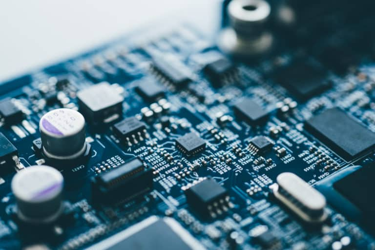 Computer board hardware motherboard microelectronics Server CPU chip semiconductor circuit core blue technology background or blue texture with processors concept electronic device
